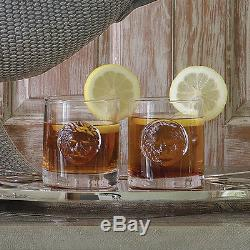Set 8 Lion Head Drinking Glasses Double Old Fashioned Bar Tabletop