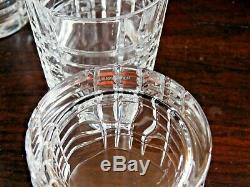 Set Of 18 Tiffany Plaid Cut Crystal Double Old Fashioned Glasses Gorgeous