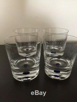 Set Of 4 Intermezzo Double Old Fashioned Glasses With Blue Dot