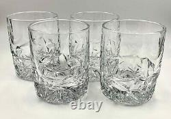 Set Of 4 Tiffany & Co Rock Cut Crystal Double Old Fashioned Whiskey Glasses