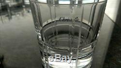 Set Of 8 Christofle Double Old Fashioned Glass Scottish Scotch Signed Crystal