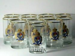 Set of 12 Vintage Ralph Lauren Estate Crest 5 High Double Old Fashioned Glasses