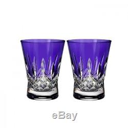 Set of 2 Waterford Lismore Pops Purple Double Old Fashioned Glasses
