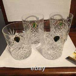 Set of 4, MIB Waterford Crystal Ciara Double Old Fashioned, Italy, Free Shipping