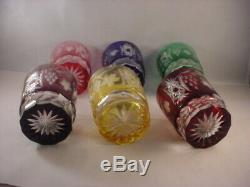 Set of 6 Ajka Crystal Marsala Cut to Clear Double Old Fashioned Glasses
