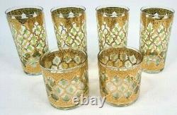 Set of 6 Culver Valencia Gold/Green Glass High Ball Double Old Fashioned Signed