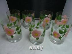 Set of 7 Franciscan Desert Rose Double Old Fashioned 12oz Tumbler Glass dof