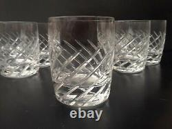 Set of (7) LENOX Double Old Fashioned Crystal Swirl Glasses Vintage