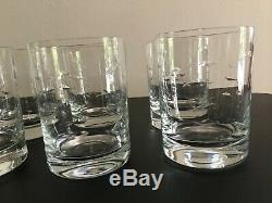 Set of 8 Crate & Barrel Reef Fish Double Old Fashioned Crystal Glasses Barware