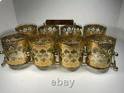 (Set of 8) Culver VALENCIA Double Old Fashioned Glasses With Holder Vintage