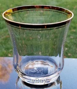 Set of 8 Mikasa Crystal JAMESTOWN GOLD 3-3/8 Double Old Fashioned Whiskey NEW