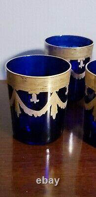 Set of 8 Reims France Cobalt Blue Heavy Gold Trim Double Old Fashioned Glasses