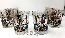 Set of 8 Vintage Mid-Century Georges Briard Double Old Fashioned Chess 1960's