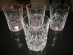 Set of FOUR (4) Waterford Lismore 4 3/8 Double Old Fashioned Glasses EXCELLEN