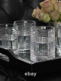 Signed Ralph Lauren Glen Plaid Set Of 4 Crystal Double Old Fashioned Glasses