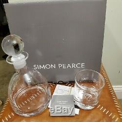 Simon Pearce VT Set Rye Decanter 2 Ascutney Double Old-Fashioned Whiskey Glasses