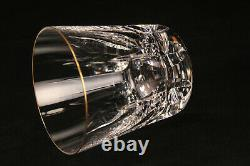 St Louis Crystal Cerdagne Clear Glass Gold Rim Double Old Fashioned Whiskey Cup