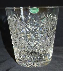 Stuart England Connaught 4 Cut Glass Double Old Fashioned 3 7/8 Orig. Stickers