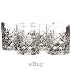 Stunning Set of 4 Rogaska Crystal Jardin 4 Double Old Fashioned Glasses New NIB