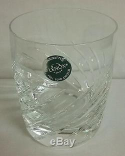Swirl MINT Lenox Crystal Double Old Fashioned Glasses 4 Weighted Handsome Eight