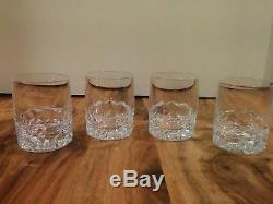Tiffany & Co. Crystal Rock Cut Double Old Fashioned Glass Whisky Cup 4 P/C Set