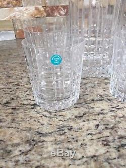 Tiffany & Co. Plaid Crystal Decanter and 6 Double Old-fashioned Crystal glasses