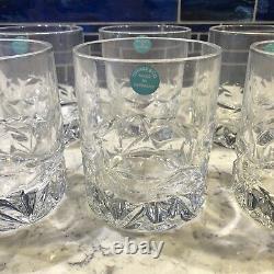 Tiffany & Co. (Set) 6 Rock Cut Double Old Fashioned Whiskey Glasses NEW (No Box)