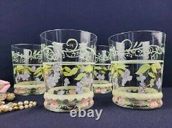 Tracy Porter Evelyn 16 Oz Handpainted Glassware Double Old Fashioned Flowers