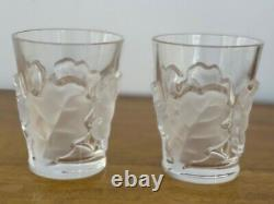 Two Lalique France Chene Oak Leaf Double Old Fashioned Tumblers 4 3/4 Marked