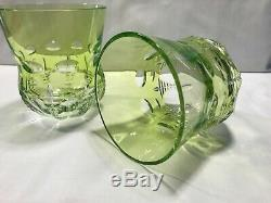 Two Waterford Simply Lime Crystal Double Old Fashioned glasses