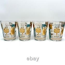 VTG MCM AROUND THE WORLD Double Old Fashioned Glasses Barware Set 4 HTF MINT