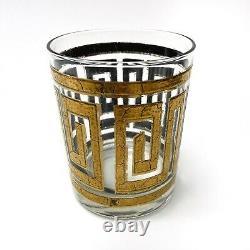 VTG Mid Century Culver 22K Gold Greek Key Double Old Fashioned Glasses Set Of 6