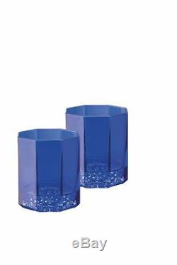 Versace Medusa Lumiere Blue Whiskey Double Old Fashioned DOB Set of 2