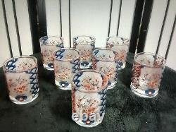 Vintage 1950s Culver Asian set of 8 22k Double Old Fashioned glassware