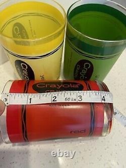 Vintage Cera Crayola Crayón Double Old Fashioned Tumblers Circa 1980s