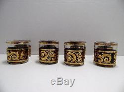 Vintage Culver Ebony Baroque Double Old Fashioned Rocks Glasses Set of 8 Elegant