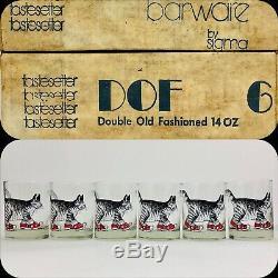 Vintage Double Old Fashioned Glasses B Kliban Cat Design TasteSetter Sigma Set 6