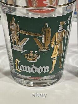Vintage Libbey International Cities of World Double Old Fashioned Glasses Set 8