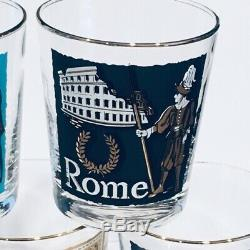 Vintage Libbey International Cities of the World Double Old Fashioned Glasses