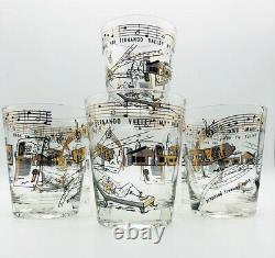 Vintage MCM 1960's Set of 6 Double Old Fashioned Cocktail Glasses Black, 22K Gld