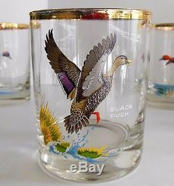 Vintage NED SMITH Waterfowl Ducks Double Old Fashioned Glasses Orvis Set of 8