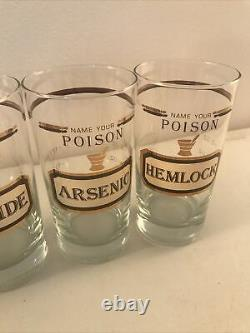 Vintage Retro Name Your Poison Glasses Double old fashioned Highball Cera