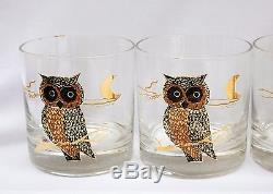 Vintage Set of Six Couroc Gilded Owl Double Old Fashioned Rocks Tumblers Glasses