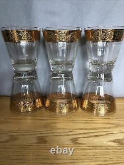 Vtg 6 Culver Tyrol 22K Gold Double Old Fashioned Glasses Gorgeous Rare