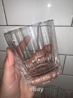 Vtg DANSK Oval Facette Double Old Fashioned Tumbler Glass Set of 4 Lot