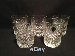 WATERFORD CRYSTAL ALANA 5 double old fashioned 12 oz tumblers 4 3/8 high