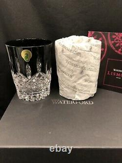 WATERFORD CRYSTAL Black Lismore Double-Old Fashioned Tumbler Pair Brand New&Box