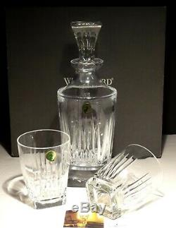 WATERFORD CRYSTAL CLARION DECANTER with 2 DOUBLE OLD FASHIONED GLASSES IN BOX