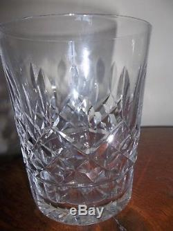WATERFORD CRYSTAL Clear 4-3/8 LISMORE 12 oz LOT 6 DOUBLE OLD FASHIONED GLASSES
