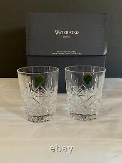 WATERFORD Lismore Set of 2 Lead Crystal Double Old Fashioned Glasses